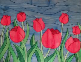 208) Houten schilderingen