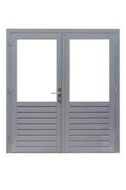 Dubbele glasdeur grijs gegrond