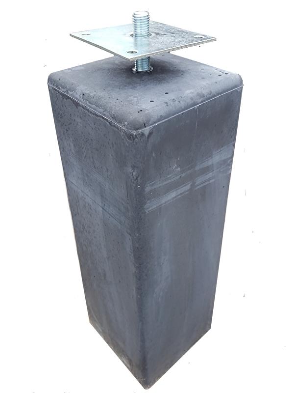 Betonpoer antraciet 15 x 15 x 50 cm (taps) met huls en verstelbare plaat
