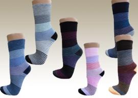 Set van 12 paar leuke dames ringel sokken art nr:600