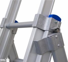 Solide 3-delige reformladder 3 x 8 sporten met open voet, vrijstaand Gratis verzending