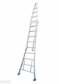 Glazenwassersladder met rollen; 2-delige ladder met 10 treden