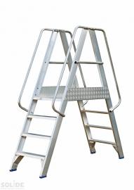Solide platform met dubbele toegang 2x4 treden
