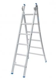 Solide 2-delige ladder 2 x 6 sporten open voet, vrijstaand, Gratis verzending