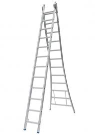Solide 2-delige ladder 2 x 12 sporten open voet, vrijstaand, Gratis verzending
