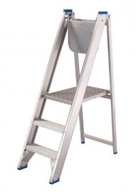 Solide montagetrap opklapbaar met aflegplateau, 3 treden