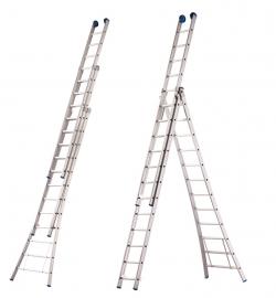 Gecoate 3-delige reformladder met rechte voet en stabilisatiebalk