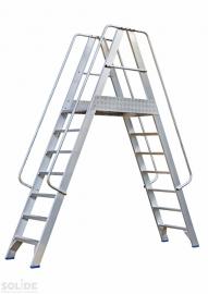 Solide platform met dubbele toegang 2x7 treden