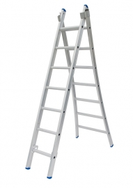 Solide 2-delige ladder 2 x 7 sporten open voet, vrijstaand, Gratis verzending