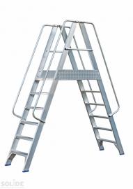 Solide platform met dubbele toegang 2x6 treden