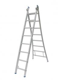 Solide 2-delige ladder 2 x 8 sporten open voet, vrijstaand, Gratis verzending