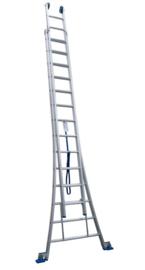 Solide 2-delige ladder 2 x 14 sporten met open voet, vrijstaand