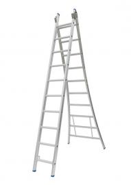 Solide 2-delige ladder 2 x 10 sporten open voet, vrijstaand, Gratis verzending