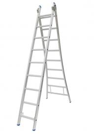 Solide 2-delige ladder 2 x 9 sporten open voet, vrijstaand, Gratis verzending
