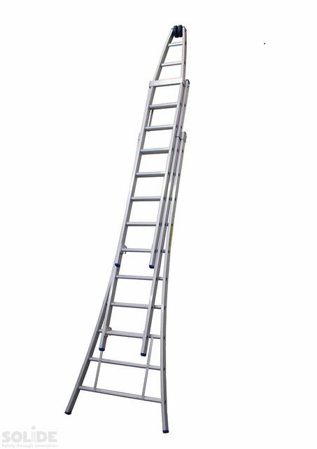 Glazenwassersladder met rollen; 3-delige ladder met 10 treden, met stabiliteitsbalk