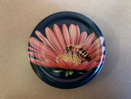 Deksels Zwart met bloem 40 stuks