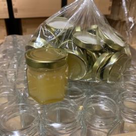 Glazen potten 50 gram zeskantig (Hexa) 50 stuks inclusief deksel