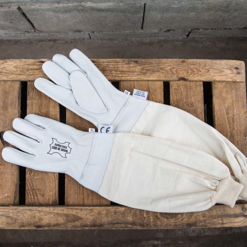 Leren handschoenen met katoenen mouw