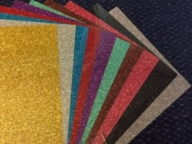Flex Folie Glitter Pakket 10 kleuren (21 cm x 29 cm)