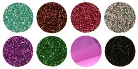 Textiel Folie Pakket Glitter Fluor/Pastel 25  x A4   21 x 29 cm
