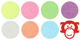 Textiel Folie Pakket Glitter Fluor/Pastel 7 x A4   21 x 29 cm