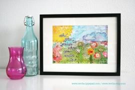 """Mixed Media A4 Art Print van mijn originele canvas """"the grass is greener..."""", mooi home decor"""