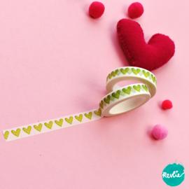 Green Heart washi tape 10 mm - Pinkie