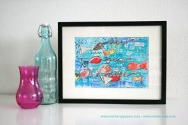 "Mixed Media A4 Art Print van mijn originele canvas ""Live in the sunshine..."", mooi home decor"