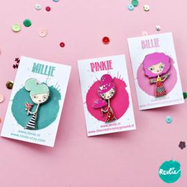 Set enamel pins Billie, Millie & Pinkie