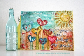 "originele ART mixed media canvas ""love grows here, feeding my soul"""