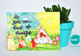 "mixed media ansichtkaart REVitup ""be your own kind of beautiful"""