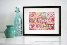 "Mixed Media A4 Art Print van mijn originele canvas ""And then there was magic love"", mooi home decor"