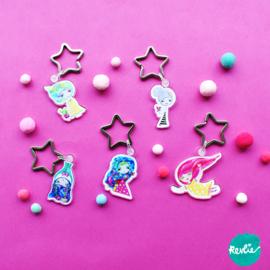 Set B van 5 Droommeisjes Sleutelhangers / Charms