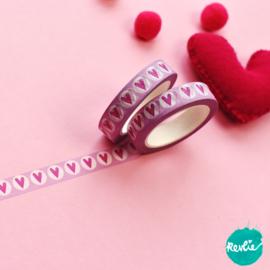 Pink Heart washi tape 10 mm - Pinkie