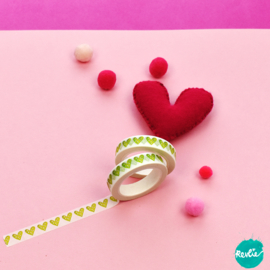 Green Heart washi tape 10 mm - Pinkie