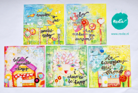 "mixed media ansichtkaarten REVitup Set ""COURAGEOUS"", 5 stuks"
