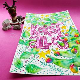 Kerstposter illustreren met Waterverf, online cursus