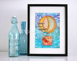 """Mixed media A4 Art Print van mijn originele canvas Boy """"You are magic"""", kinderkamer print"""