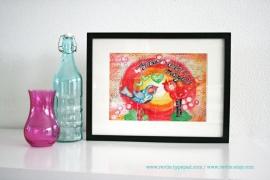 "Mixed Media 8,5 x 11 Art Print of original canvas ""You are magic (birds)"", lovely home decor"