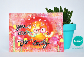 "mixed media ansichtkaart REVitup ""you are so lovely"""