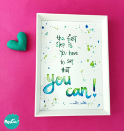 "NIEUW: Quote Poster - Print A4 21 x 29,7 cm ""YOU CAN"" - unieke home decor"