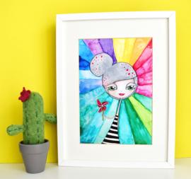 "NIEUW: Art Print 21 x 29,7 cm ""Rainbow Girl"", unieke home decor"