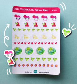Stickersheet Sally Strong  Girl 001