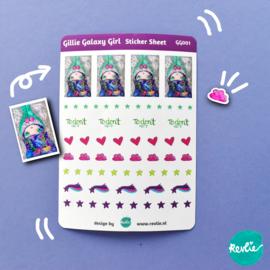 Stickersheet Gillie Galaxy Girl 001