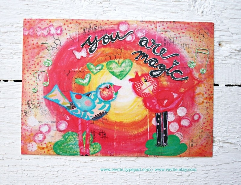 """mixed media ansichtkaart REVitup """"you are magic"""""""