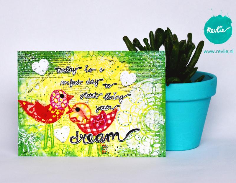 "mixed media ansichtkaart REVitup ""start living your dream"""