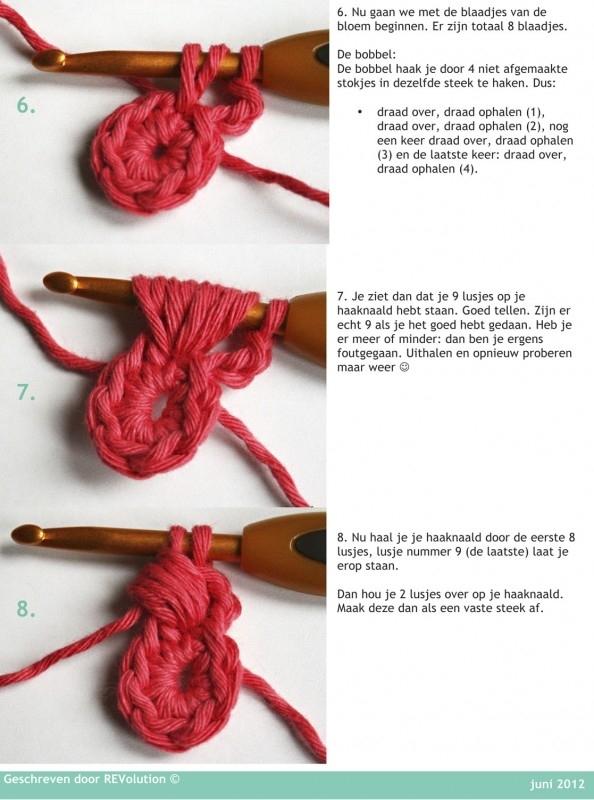 Granny Square Bobble Flower Deken Haakbeschrijving - pdf tutorial - haakpatroon - REV IT UP