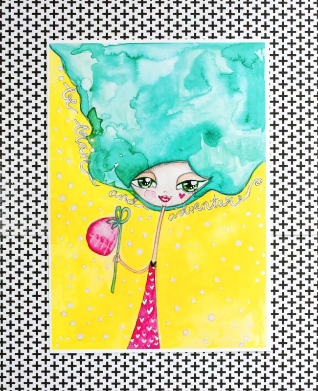 "NIEUW: Art Print 21 x 29,7 cm ""Adventure Girl"", unieke home decor"