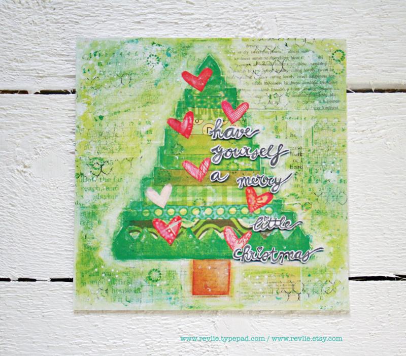 1 set van 12 unieke kerstkaarten, zachte mixed media stijl