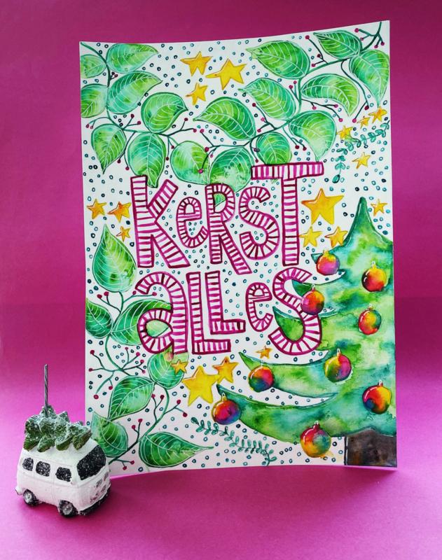 KADOBON voor Kerstposter illustreren met Waterverf, online cursus